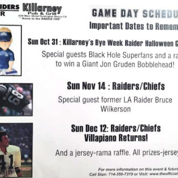 Killarney's Game Day Schedule
